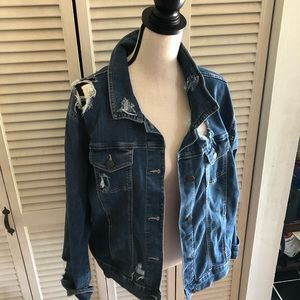 Distressed Old Navy Rockstar Jean Jacket Size XXL